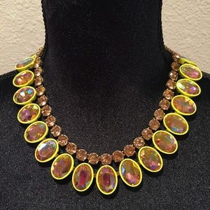 J Crew Layered Crystal Necklace in Lemon